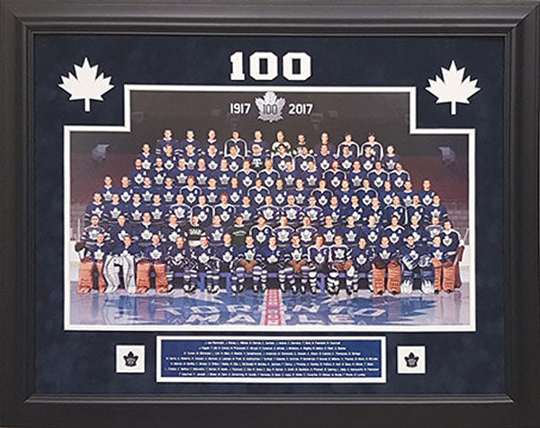 100 Greatest Leafs - framed with etched mattes and pins