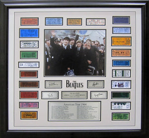 The Beatles - Framed 1st US Tour framed replica ticket stubs