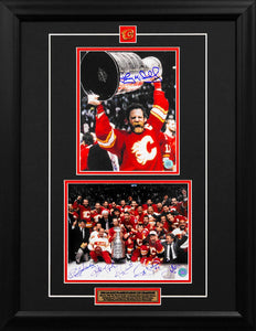 1989 Calgary Flames Stanley Cup Champion 7 Player Signed Collage