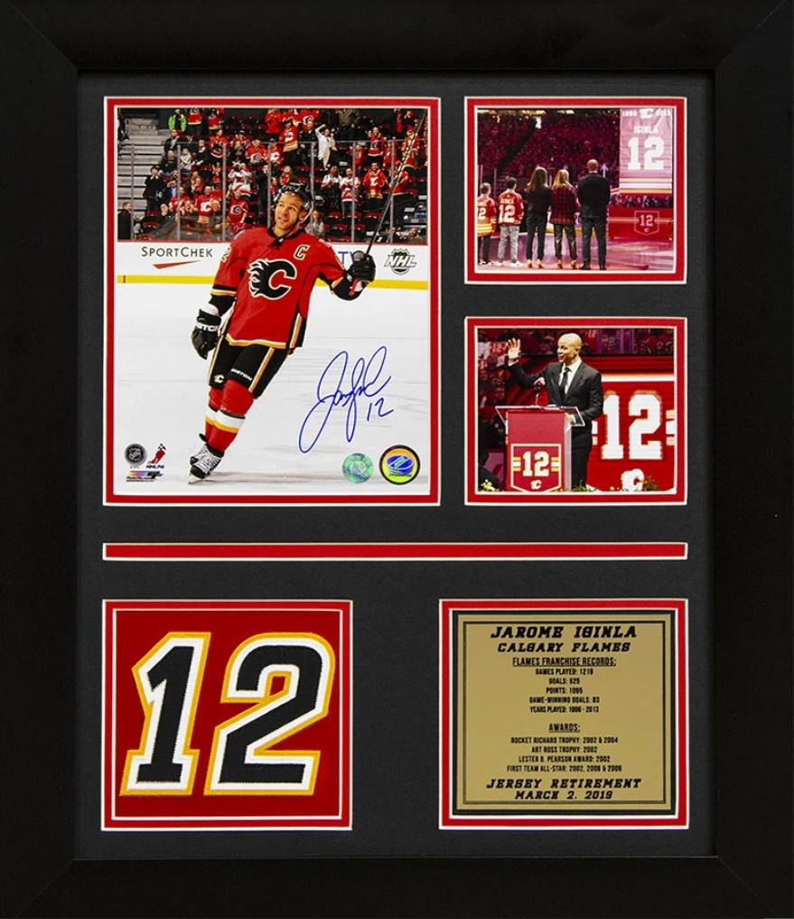 Jarome Iginla Signed Retired Jersey Number Night Tribute.