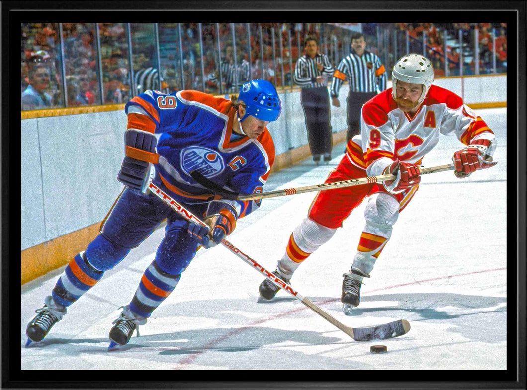 Lanny Mcdonald vs. Wayne Gretzky - Framed Canvas Flames vs Oilers