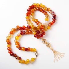 Carnelian Long Tassel Necklace with Gold Beads
