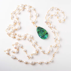 Pearl & Turquoise Wire Wrapped Opera Length Necklace