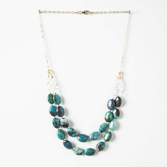 Jewelry Sale: Statement Necklace, Aquamarine, Chrysocolla Gold Necklace