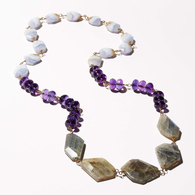 Statement Necklace: Labradorite, Amethyst, Blue Lace Agate Gemstone Necklace