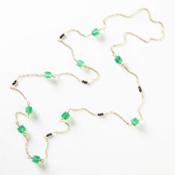 Cynthia Necklace - Green & Black Onyx