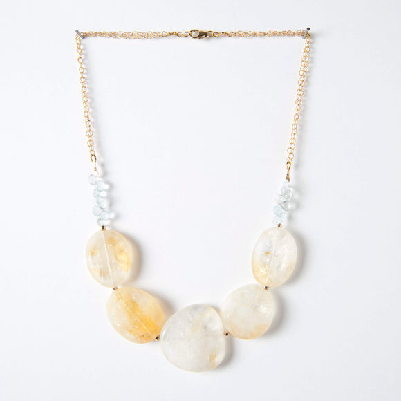 Marilyn Necklace - Citrine & Aquamarine