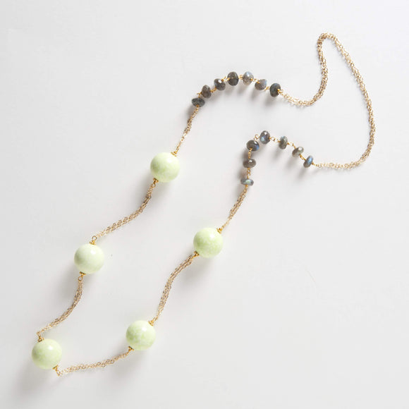 Addie Necklace - Lemon Chalcedony & Labradorite
