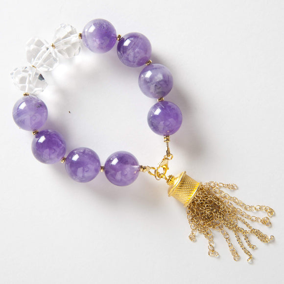 Autumn Bracelet - Amethyst & Rock Quartz