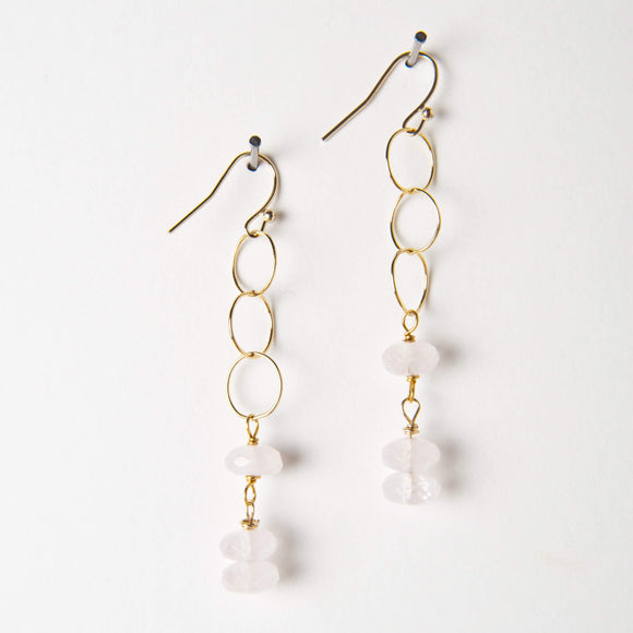 Chloe Earrings - Rose Quartz