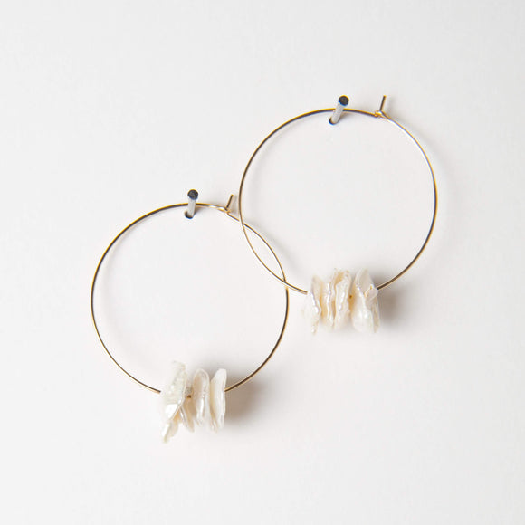 Patrice Earrings - Disk Pearl