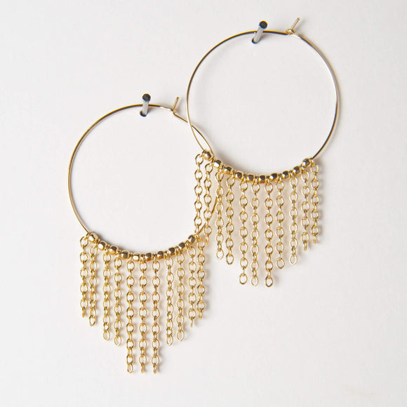 Patrice Earrings - Gold Fringe