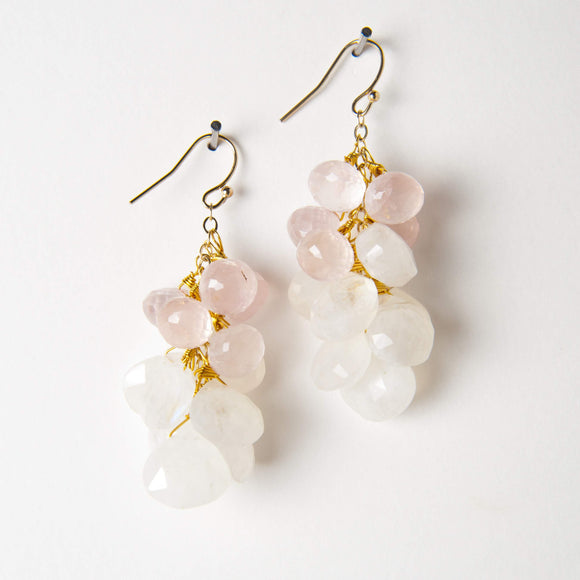 Leonie Earrings - Moonstone & Rose Quartz
