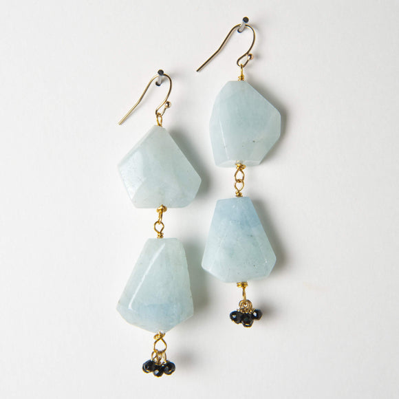 Aniston Earrings - Aquamarine & Black Onyx