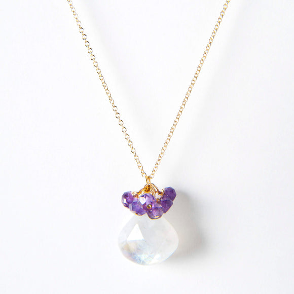Leah Necklace - Moonstone & Amethyst
