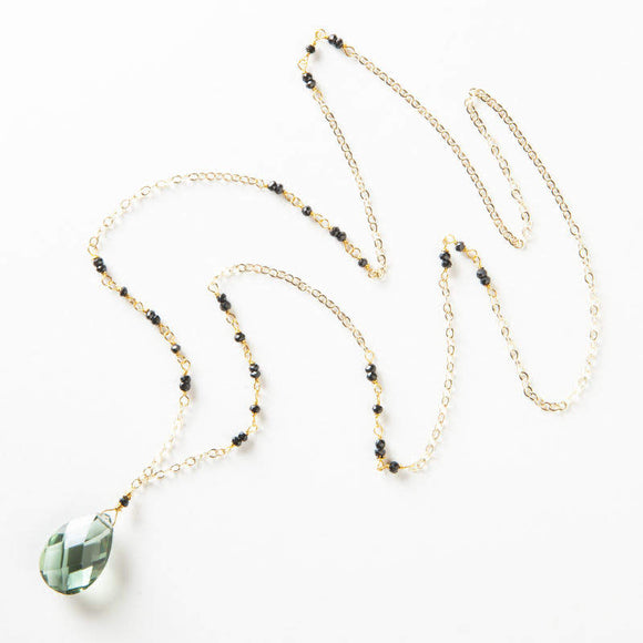 Yvonne Necklace - Green Quartz & Black Onyx