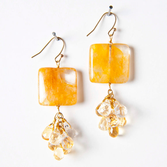 Heather Earring - Rock Quartz & Citrine