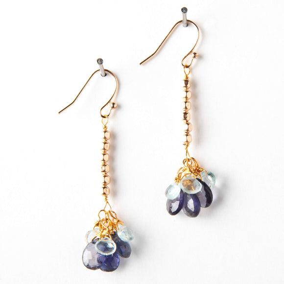 Poppy Earrings - Iolite & Acquamarine