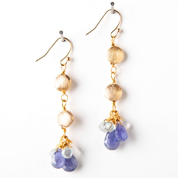 Zoe Earrings - Tanzanite & Aquamarine