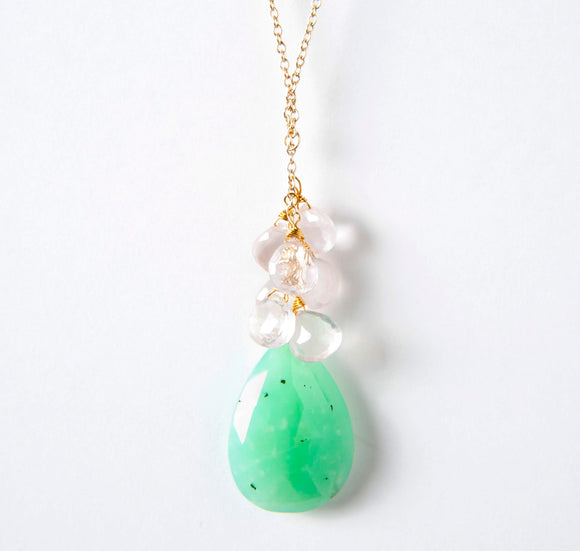 Kira Necklace - Chrysoprase & Rose Quartz