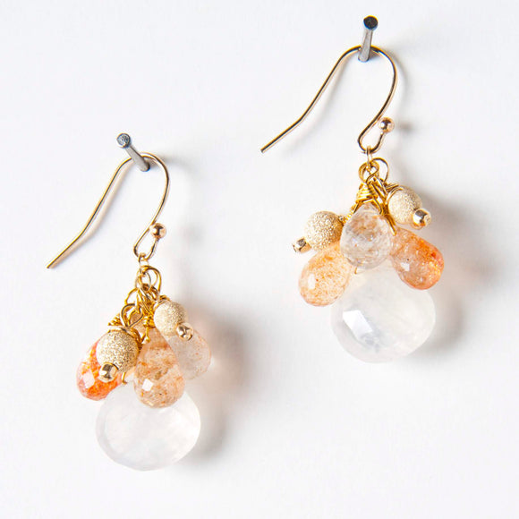 Bree Earrings - Moonstone & Sunstone