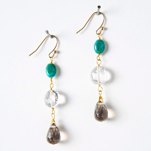 Summer Earrings - Turquoise, Smoky Quartz & Rock Quartz