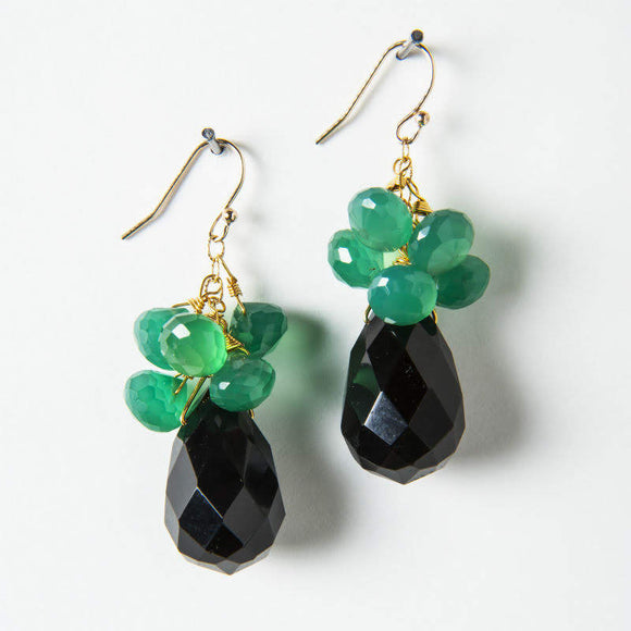 Cynthia Earrings - Black Onyx & Green Onyx