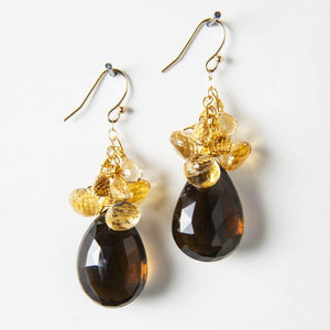 Cynthia Earrings - Whiskey Quartz & Citrine
