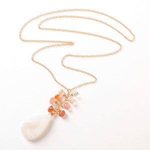 Beyonce Necklace - White Agate Druzy & Sunstone