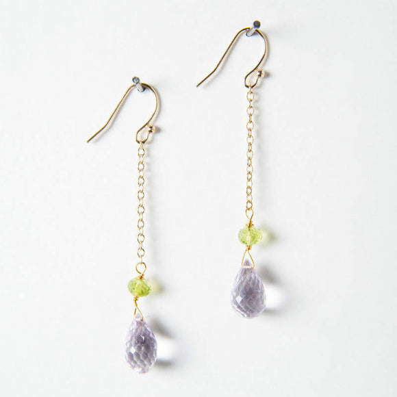 Amelia Earrings - Pink Amethyst & Peridot