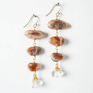 Adrianna Earrings - Sunstone & Rock Quartz
