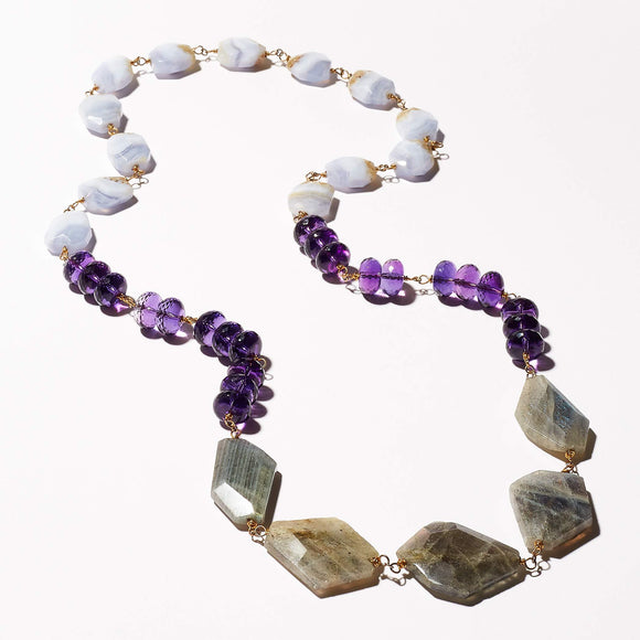 Elliot Necklace - Amethyst, Labradorite & Lace Agate