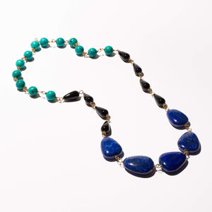 Elliot Necklace - Lapis, Black Onyx & Turquoise