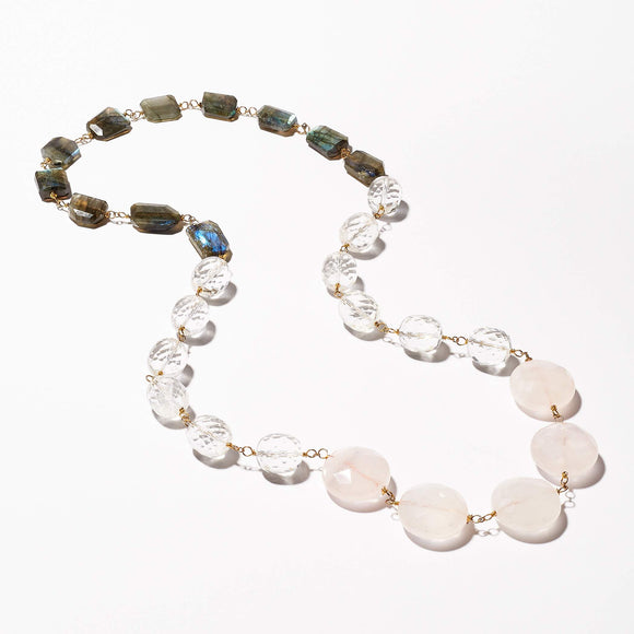 Elliot Necklace - Rose Quartz, Rock Crystal & Labradorite