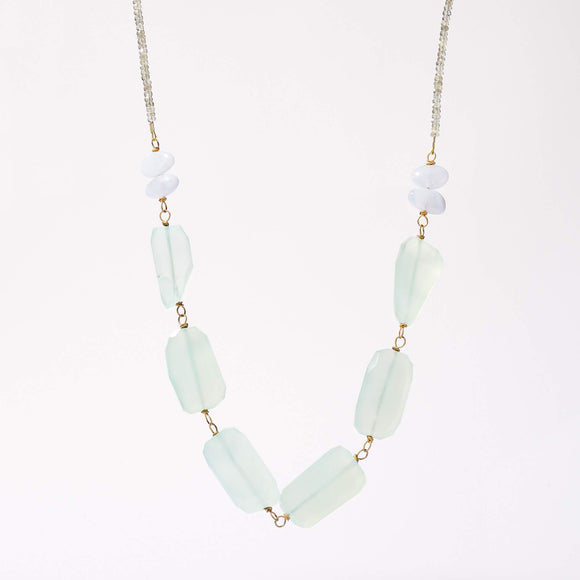 Wade Necklace - Chalcedony & Labradorite