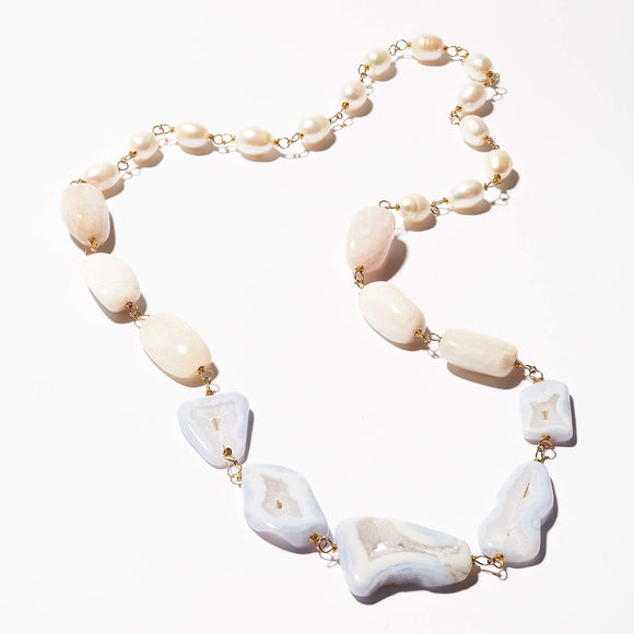 Elliot Necklace - Druzy Agate, Kunzite & Pearls