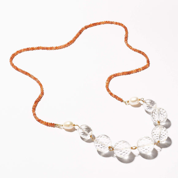 Wade Necklace - Sunstone & rock quartz stones, pearls