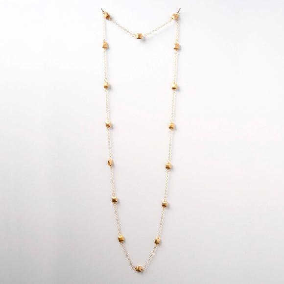 Sarah Necklace - Gold Square Beads