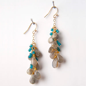 Cassie Earrings - Labradorite & Apatite