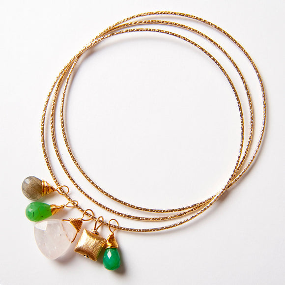 Lola Bangle Bracelets - Rose quartz, chrysoprase & labradorite