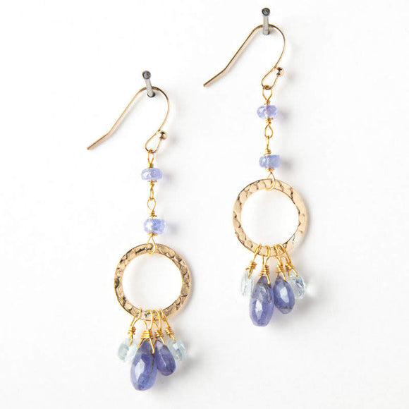 Stacie Earrings - Tanzanite & Aquamarine