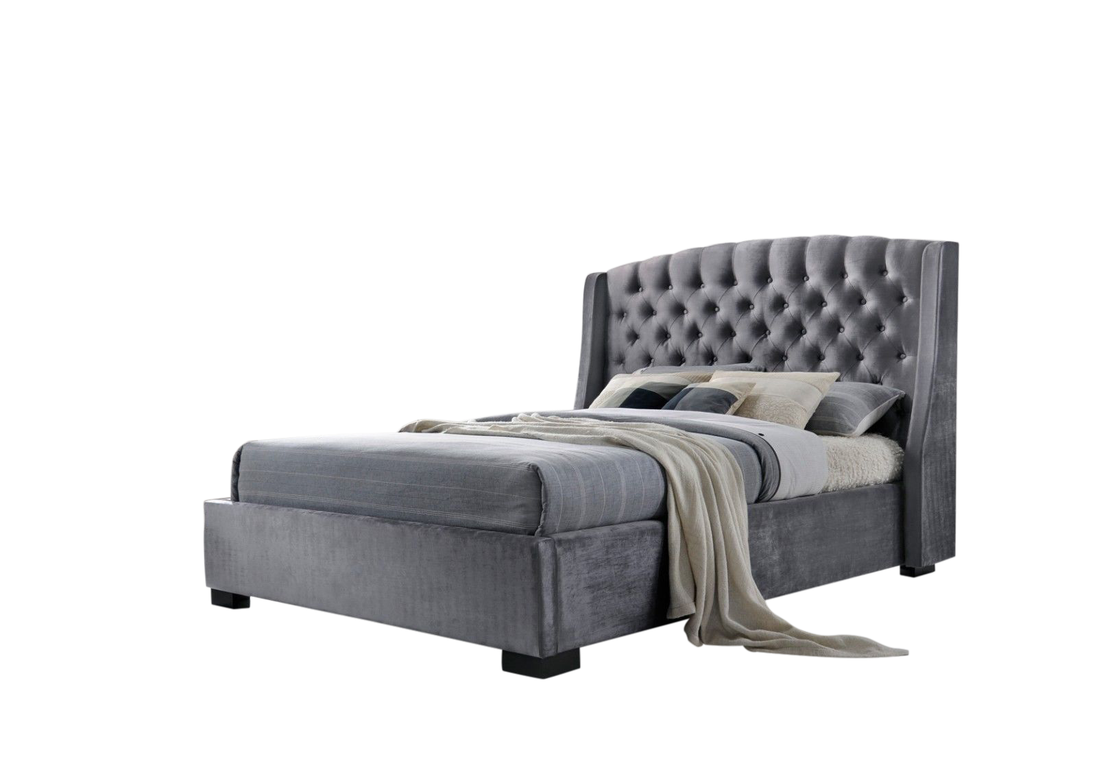 Brando Velvet Fabric Upholstered Wing Bed main image