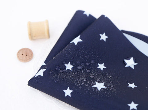 Waterproof Fabric White Stars on Navy - By the Yard 1857-4