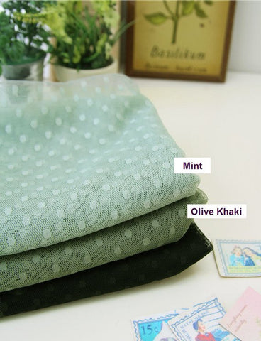 (NEW!) Mesh Fabric with 4 mm Dots - Mint or Olive Khaki - 62