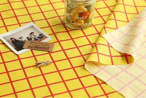 (NEW!) Yellow Red Checkered Cotton Blend Fabric, Yellow and Red Plaid Fabric - By the Yard 845-