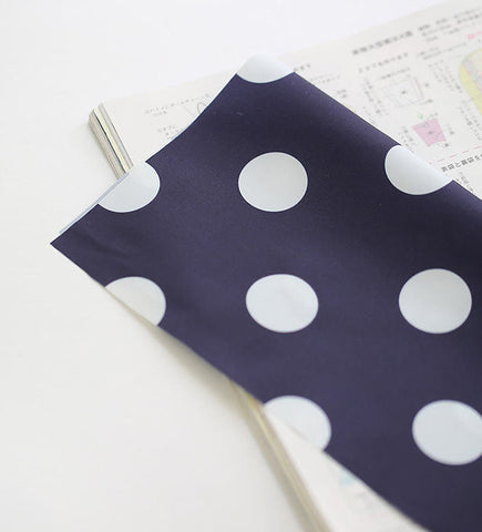 Waterproof Fabric, Large Dots, Navy Waterproof - 59 Inches Wide - By the Yard - 86987-01