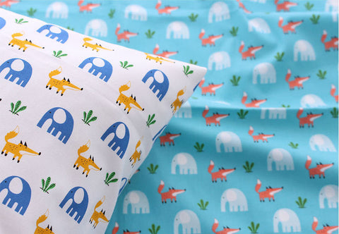 Fox and Elephant Cotton Fabric, Animal Cotton Fabric - Ivory or Mint Blue - By the Yard 88441