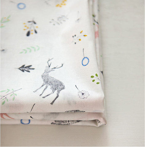 Deer Cotton Fabric, Forest Cotton Fabric - By the Yard 88431
