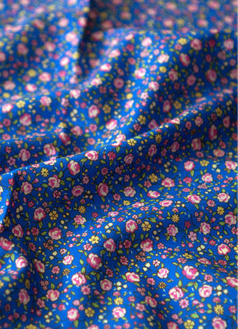 Blue Flowers Cotton Fabric, Floral Cotton Fabric - By the Yard 88616