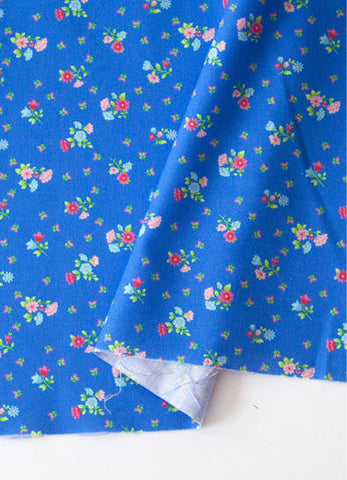 Blue Flowers Cotton Fabric, Floral Cotton Fabric, Small Flower Fabric - By the Yard 88618
